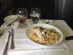 United Airlines Global First Class 747 Onboard Meal Service Salmon topped with Crab