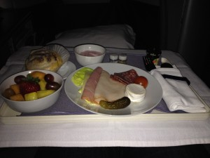 United Airlines Global First Class 747 Breakfast HNL - NRT