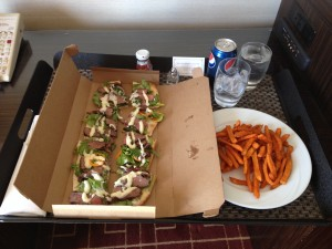 Flank Steak Flatbread with Sweet Potato Fries