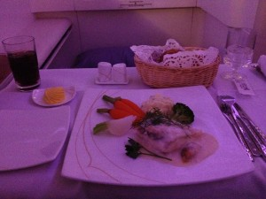 Turbot fish fillet with dieppoise sauce, mashed potatoes and vegetables