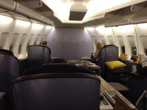 Thai Airways First Class Cabin 747 Bangkok to Sydney