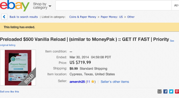Vanilla Reloads Card selling on eBay for $700