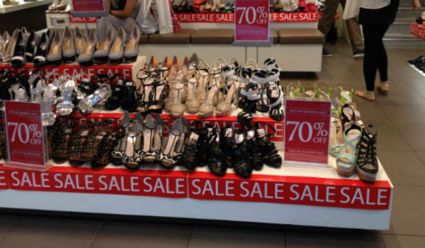 Shoes on sale on King Street in Sydney