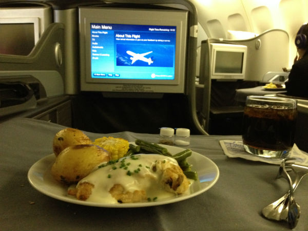 United Global First Class Meal Chicken and vegetables