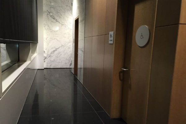 Cathay Pacific Business Class Lounge SFO bathroom and shower area