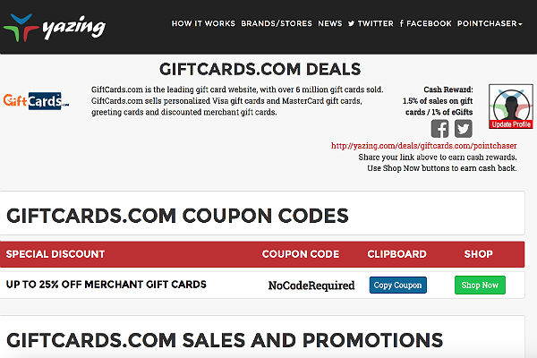 Yazing 1.5 Percent Cash Back at Giftcards.com
