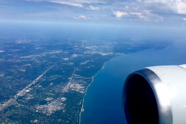 View from the airplane flying over Chicago