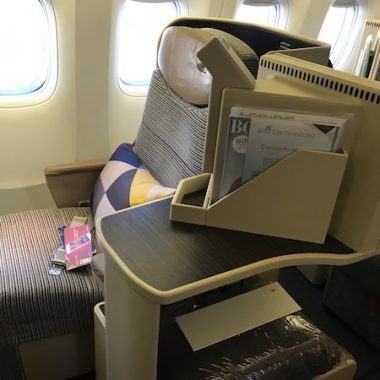 Etihad Airways Business Class Seat 1K on the 777-200 San Francisco to Abu Dhabi