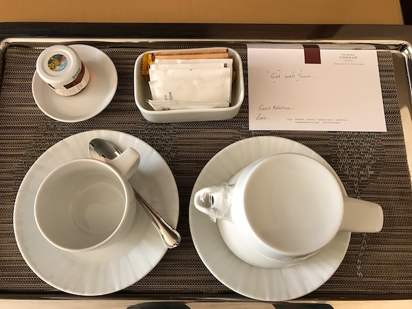 Ginger Tea and a note from the staff at Conrad Makkah Hotel Review