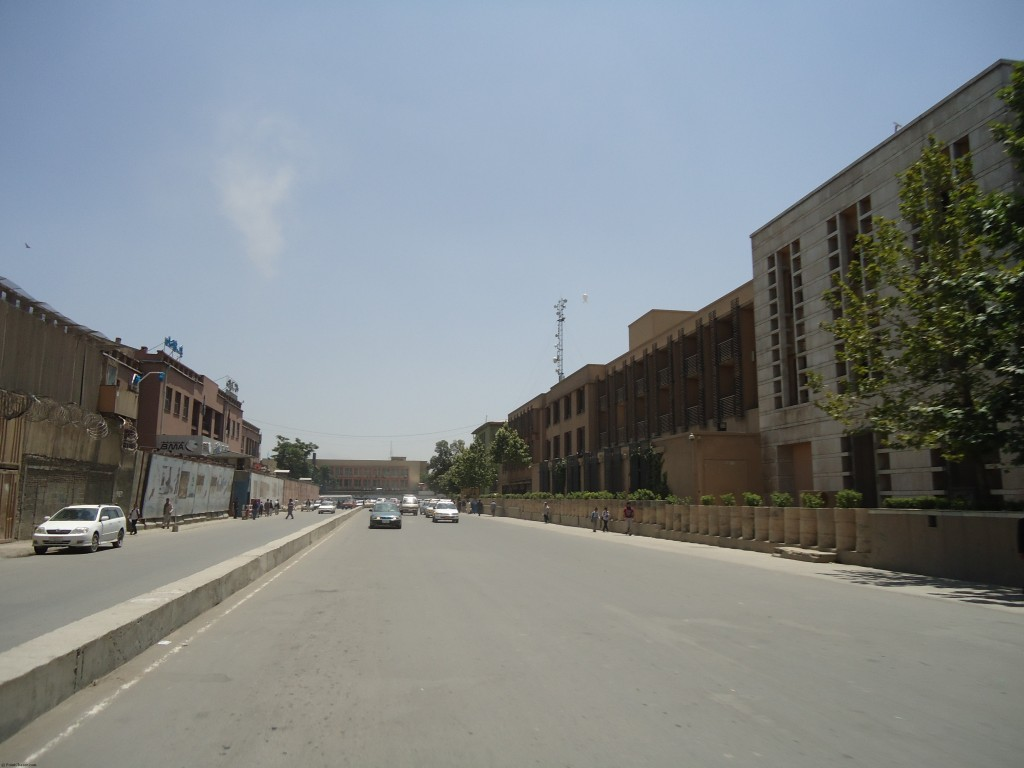 Deserted streets on the day of an international conference. Serena Hotel to the right.