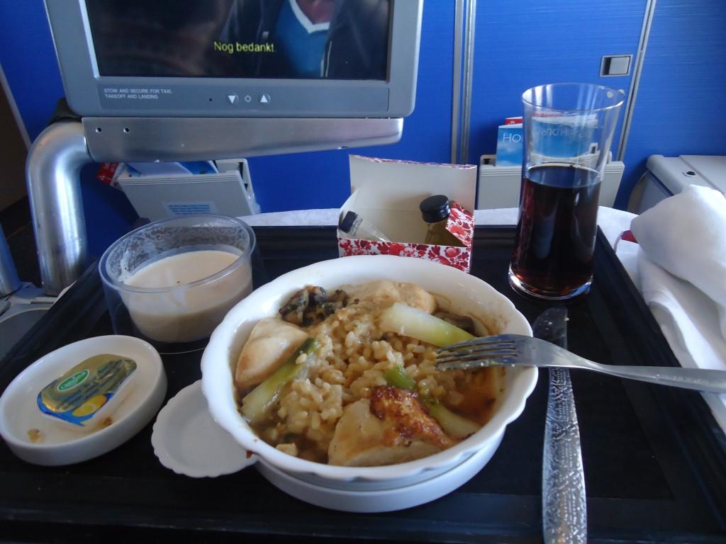 KLM Business Class Meal Fillet of Chicken in Tarragon Gravy