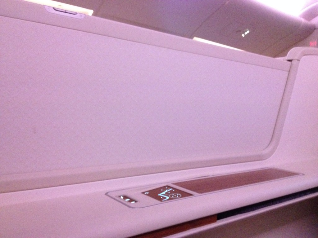 Thai Airways First Class Seat Controls and Privacy Shield