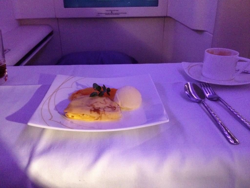 Thai Airways First Class A380 Dessert Crepes Suzette with Vanilla Ice Cream and Orange Sauce