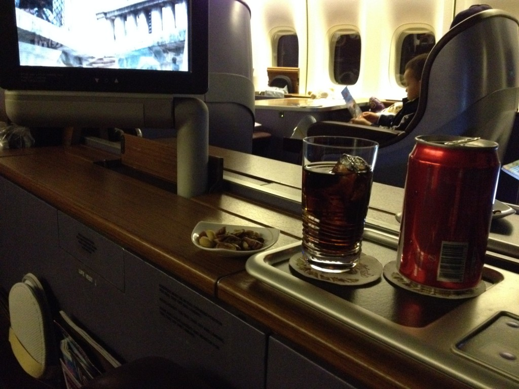 First Class Thai Airways Peanuts and Coke