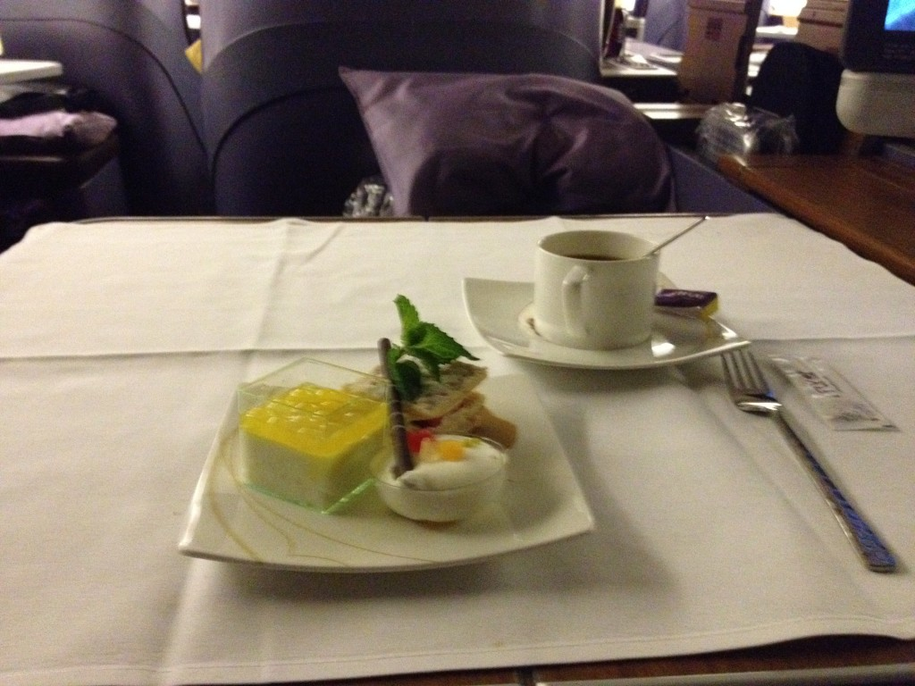 Thai Airways Royal First Class Dessert: Strawberry mille-feuille, noughat glace with chocolate stick and praline sauce, rice pudding with coconut cream and mango pearl