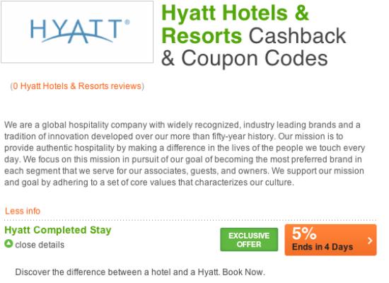 5% Cashback at Hyatt Hotels