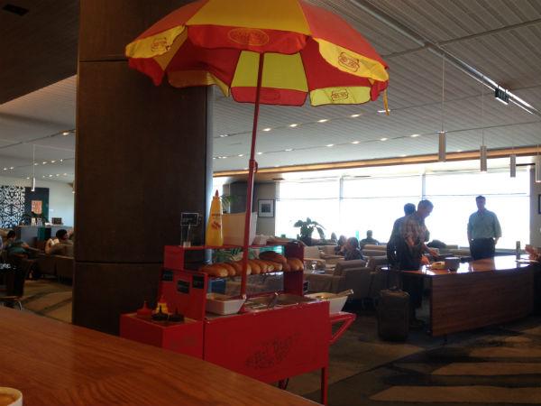 Air New Zealand Business Class Lounge Hot Dog Cart Sydney Airport
