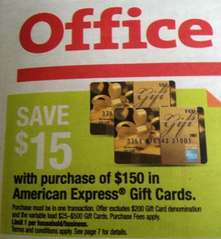 $15 off $150 American Express gift cards at Office Max
