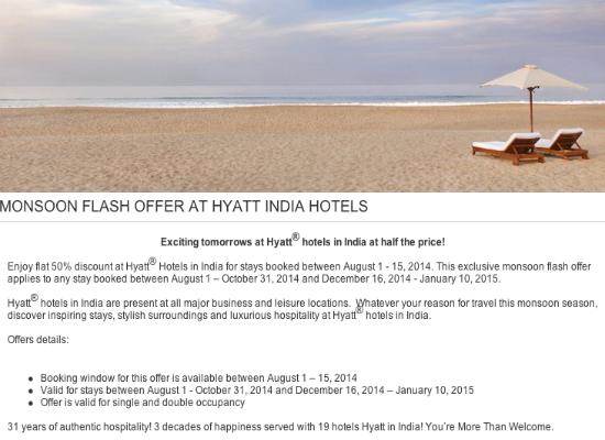 Hyatt Hotels India 50 Off