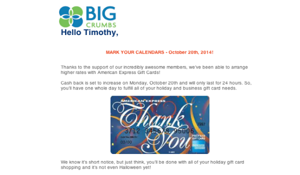 Big Crumbs Amex gift cards