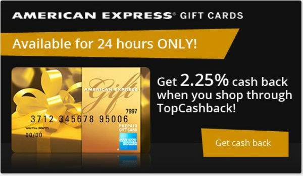 2.25% Cash Back on Amex Gift Cards from Top Cash Back!