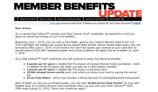 Club Carlson Visa Credit Card