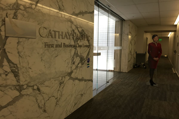 Entrance to the Cathay Pacific First and Business Class Lounge at SFO
