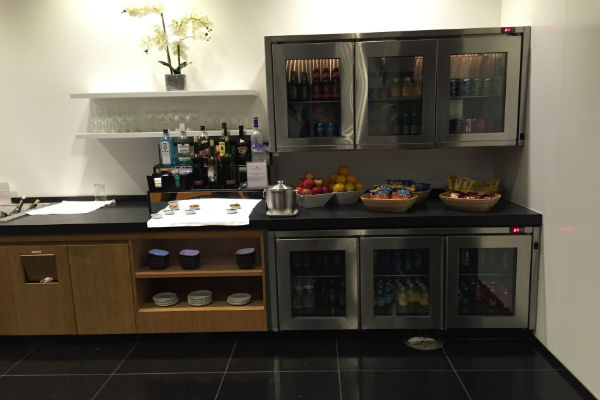 Cathay Pacific Business Class Lounge SFO snacks and drinks section