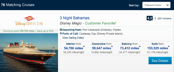 United redemption rates for a Disney Cruise
