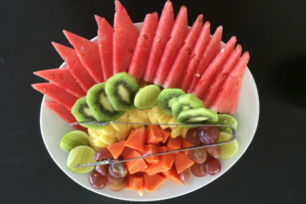 Fruit plate served at Villa Bulung Daya