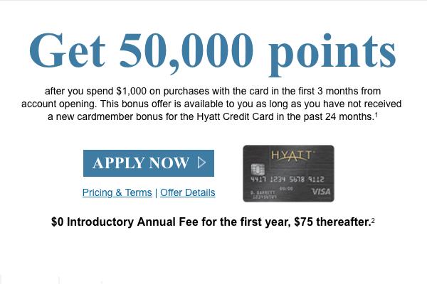 Chase Hyatt Visa 50000 Points