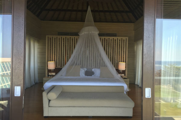 The master bedroom of the Conrad Bali Penthouse Suite