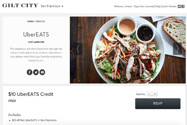 First-time users can get a FREE $10 UberEats credit from Gilt City