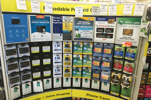 Vanilla Reload cards on display at Dollar General