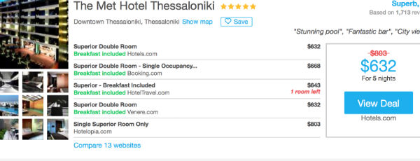 HotelsCombined rates at the Met Hotel Thessaloniki: Over $100 cheaper!