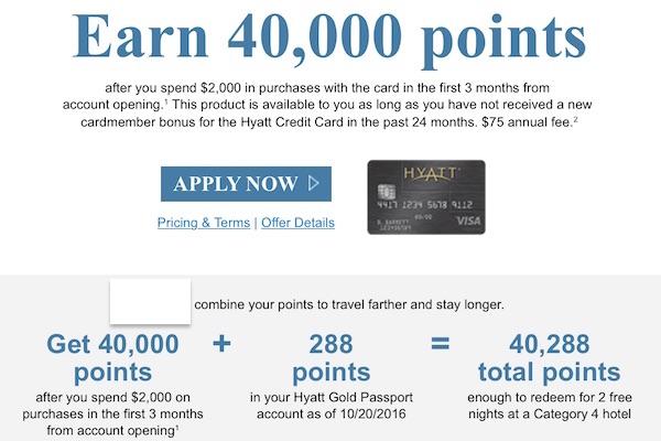 Chase Hyatt Visa targeted credit card sign-up bonus for 40000 points