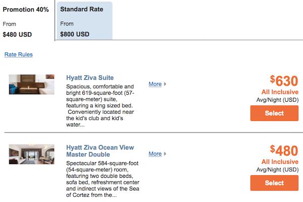 Hyatt Ziva Los Cabos Thanksgiving Rates