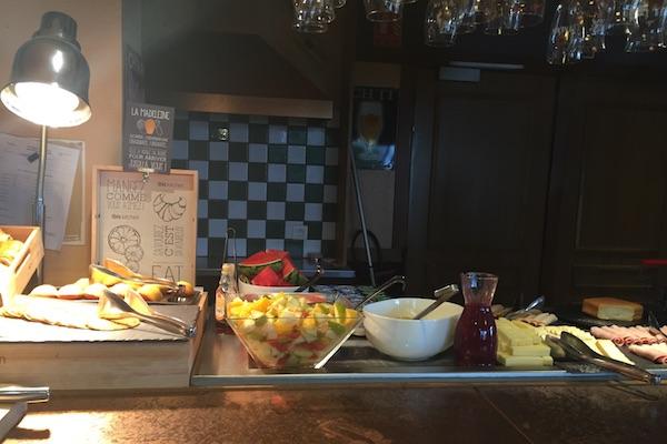 Ibis Calais Hotel Breakfast Buffett - crepes, fruit, yogurt, meat, and cheese