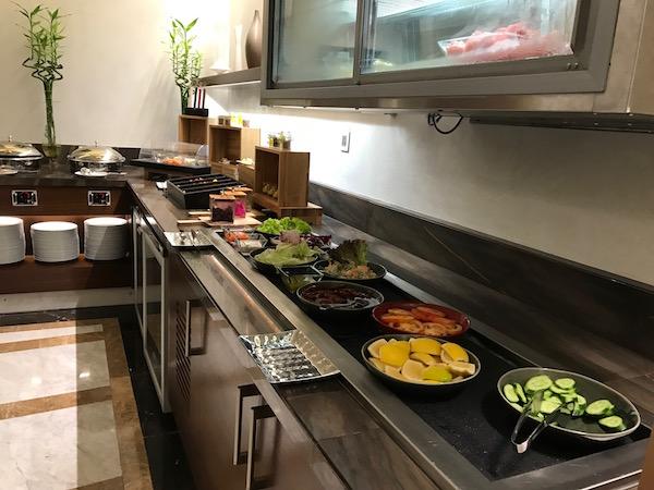 Conrad Makkah Executive Club Lounge evening appetizer spread