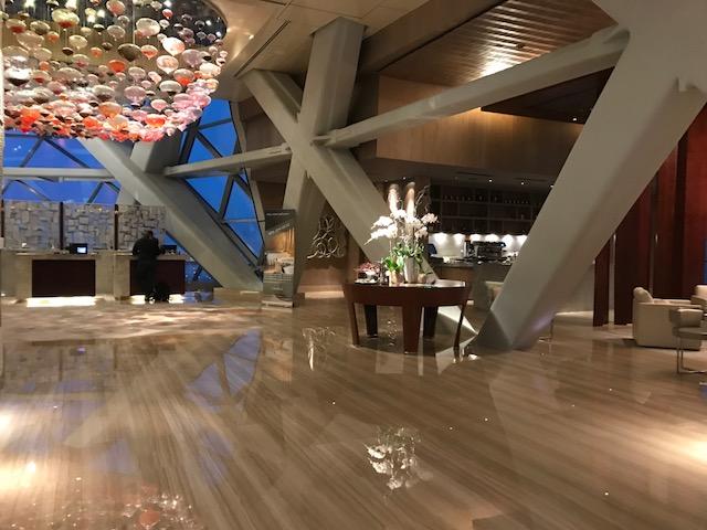 Stunning lobby of the Hyatt Capital Gate