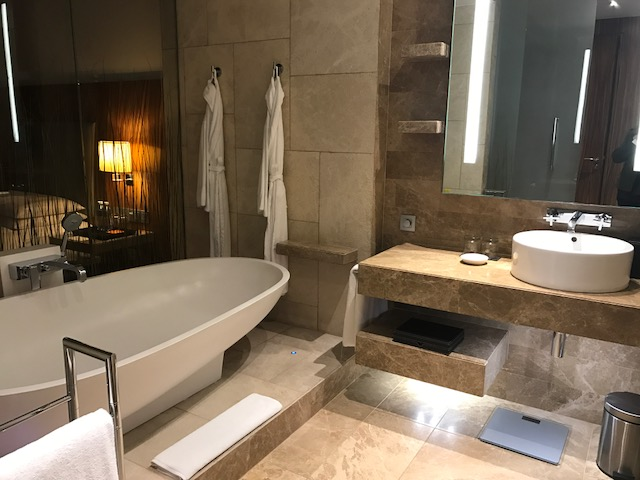 Marble Bathroom in the Standard Room at Hyatt Capital Gate Abu Dhabi
